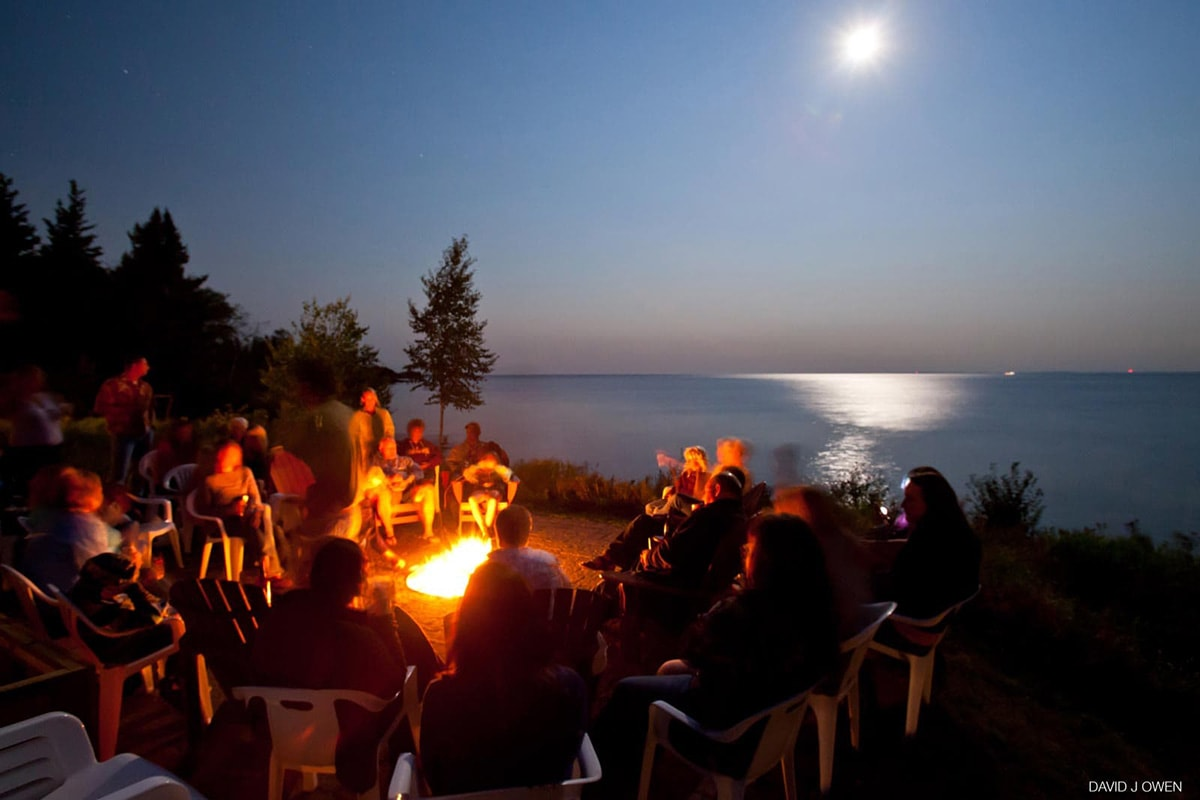Bonfire after a Lake Superior wedding
