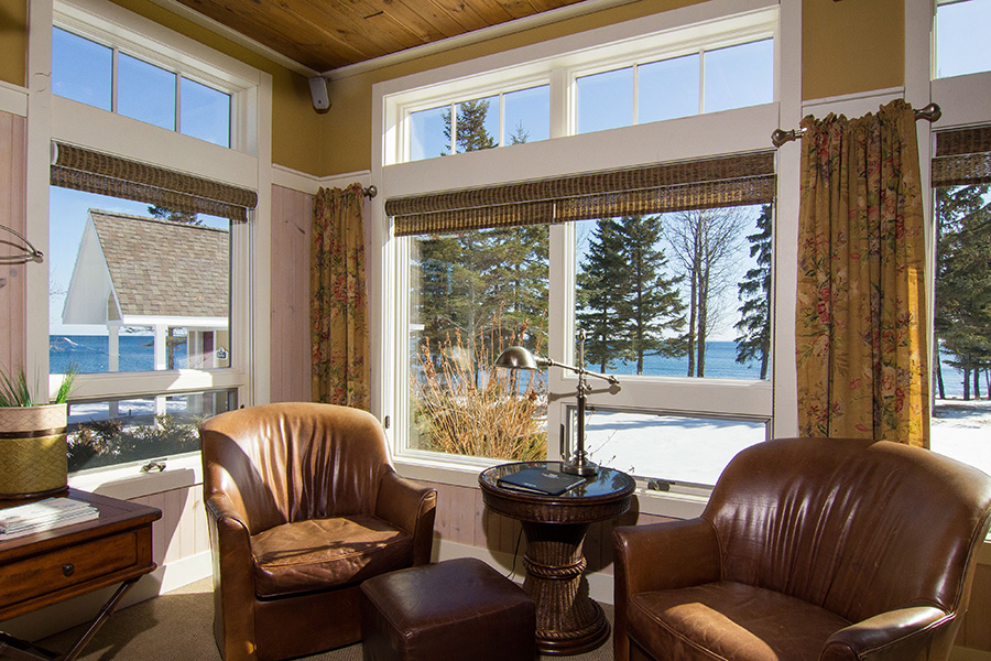 Larsmont Cottages living room overlooking Lake Superior